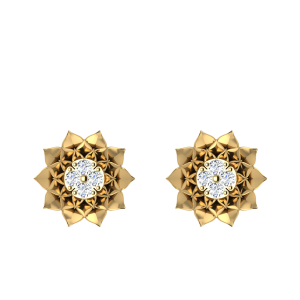Flower Flourishes Forever Diamond Stud Earrings