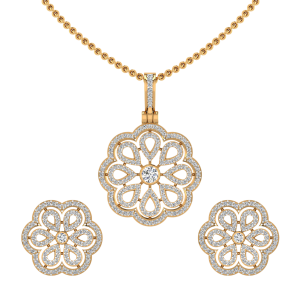 The Floral Bloom Diamond Pendant Set