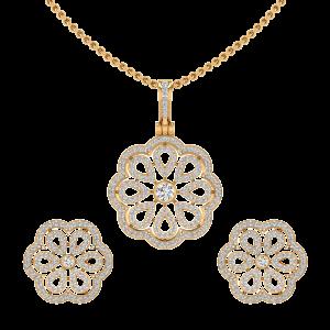 The Floral Bloom Diamond Pendant Set