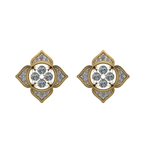 The Full Bloom Diamond Floral Stud Earrings