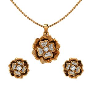 The Floral Fashion Diamond Pendant Set
