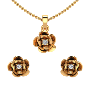The Tiny Flower Diamond Pendant Set
