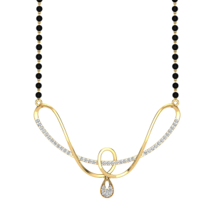 The Wishes Mangalsutra With Black Beads Gold Chain
