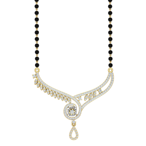 The Sparkling Mangalsutra With Black Beads Gold Chain