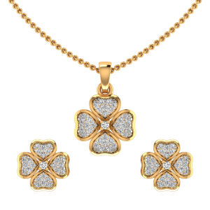 The Floral Hearts Diamond Pendant Sets