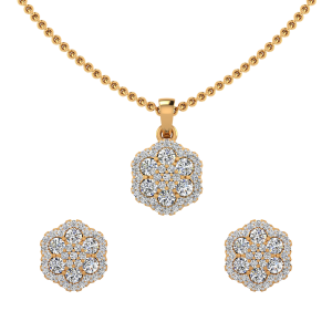 The Floral Cluster Diamond Pendant Set