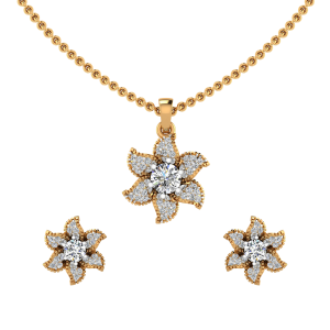 The Petals Floral Diamond Pendant Set