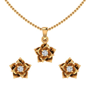 The Rose Petals Diamond Pendant Set