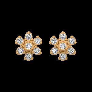 The Fair Flair Gold Diamond Floral Earrings