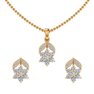 The Floral Bouquet Diamond Pendant Set