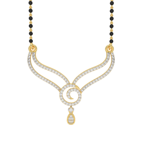 The Composed Mangalsutra With Black Beads Gold Chain