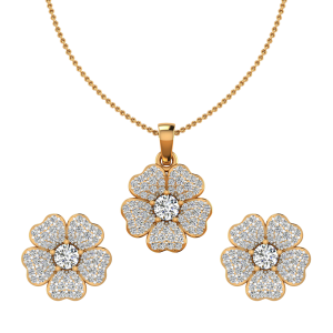 The Floral Fog Diamond Pendant Set