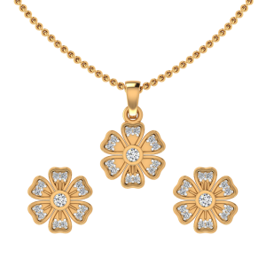The Floral Art Diamond Pendant Set