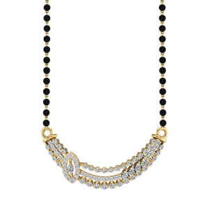 The Skönt Mangalsutra With Black Beads Gold Chain