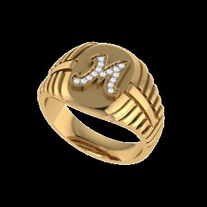 Marvelous ''M'' Letter Men`s Diamond Ring