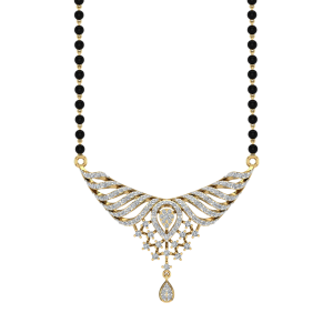 The Sarang Mangalsutra With Black Beads Gold Chain
