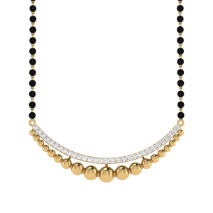 The Happiness Mangalsutra With Black Beads Gold Chain