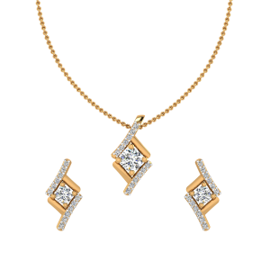 The Swerve Diamond Pendant Set