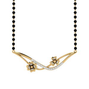 The Weald Mangalsutra With Black Beads Gold Chain