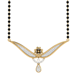 The Aurora Mangalsutra With Black Beads Gold Chain