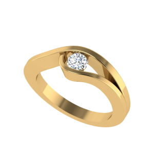 The Romantic Wave Diamond Solitaire Ring