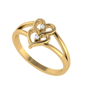 Meant For Each Other Two Hearts Diamond Ring