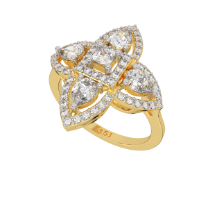 The Fashion Square Gold Diamond Ring
