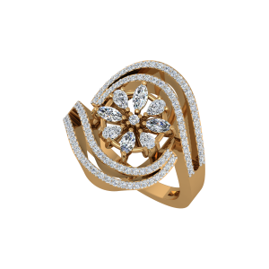 The Floral Blush Gold Diamond Ring