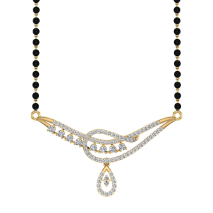 The Noor Mangalsutra With Black Beads Gold Chain