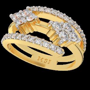 The Enlocked Beauty Gold Diamond Ring