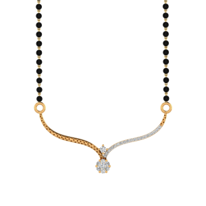 The Hayat Mangalsutra With Black Beads Gold Chain
