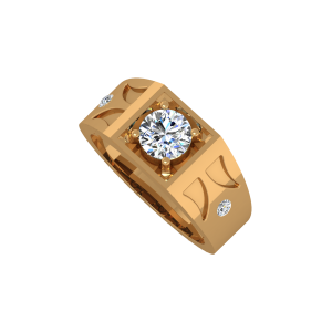 The Elegance Gold Diamond Mens Ring