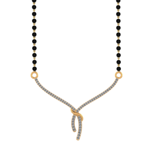The Eternal Knot Mangalsutra With Black Beads Gold Chain