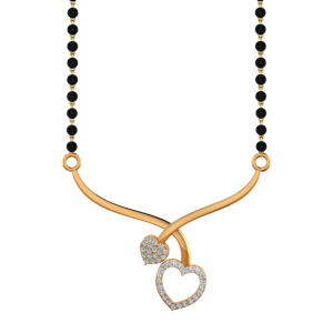 The Touching Heart Mangalsutra With Black Beads Gold Chain