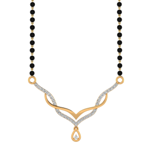 The Flow of Drop Mangalsutra With Black Beads Gold Chain