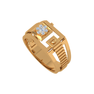 Floral Enigma Gold Diamond Ring