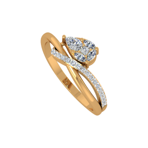 The Pear Parked Gold Diamond Ring