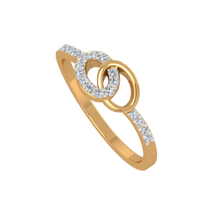 Oval Loops Gold Diamond Ring