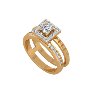 Solitaire On Track Gold Diamond Ring