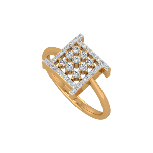 Chequered Brilliance Gold Diamond Ring