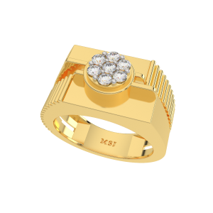 The Crisp N Corrugate Gold Diamond Mens Ring