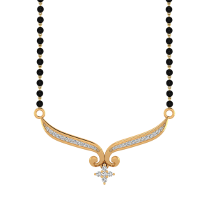 The Traditional Crease Mangalsutra With Black Beads Gold Chain