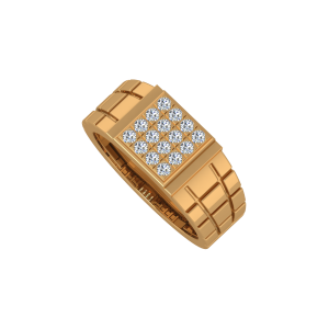 The Checkerboard Gold Diamond Mens Ring