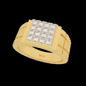 The Checkerboard Gold Diamond Mens Ring
