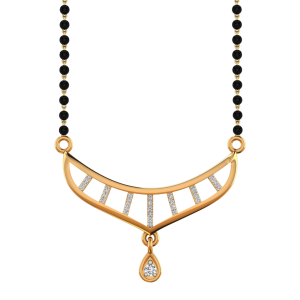The Style Instinct Mangalsutra With Black Beads Gold Chain