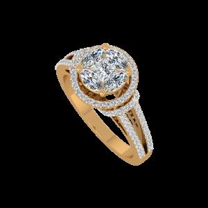 The Glitter Whirls Gold Diamond Ring