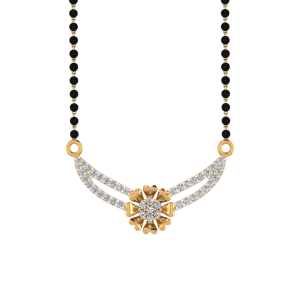 Floral Allure Mangalsutra With Black Beads Gold Chain
