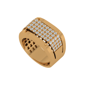 The Warrior Gold Diamond Mens Ring