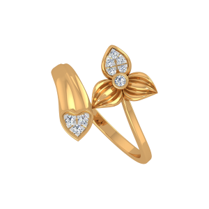 The Floral Heart Gold Diamond Floral Ring