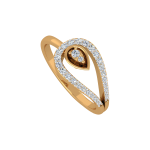 The Pear Placed Gold Diamond Ring
